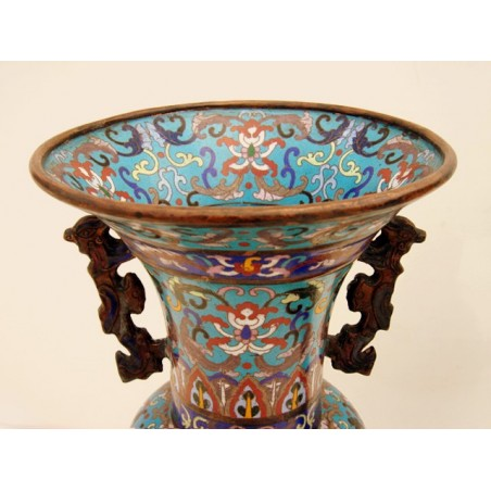 Cloisonne Enamel vases with Handles