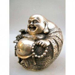 Lucky Bouddha in silvered bronze  (XL)