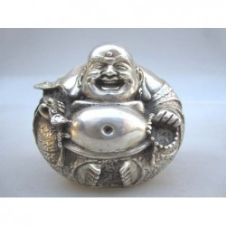 Happy Bouddha in silvered...