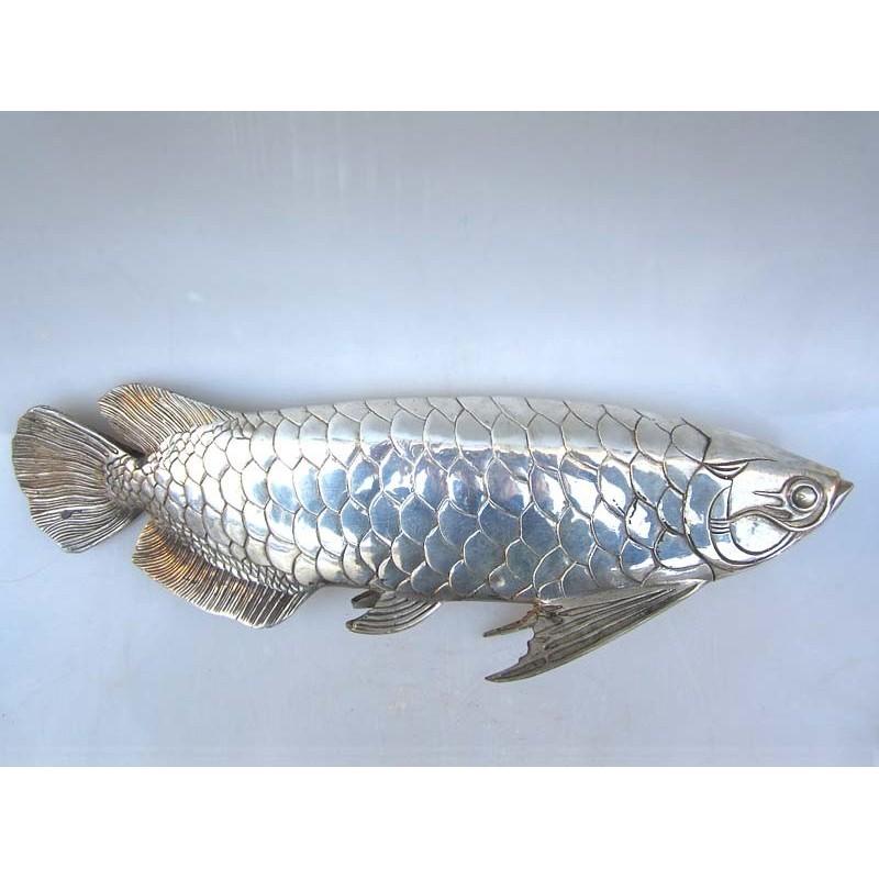 China. Bronze fish in silvered bronze