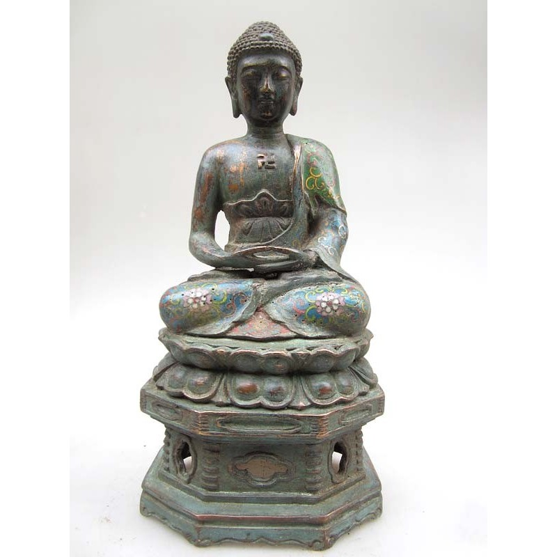 Bouddha en méditation- émaux cloisonnés