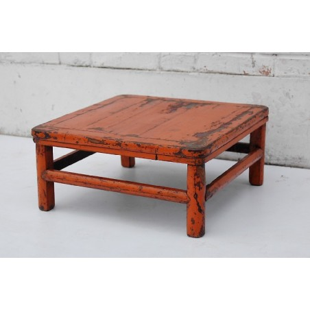 Chinese tea table in orange lacquer 48cm