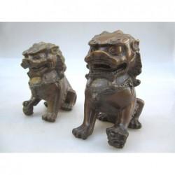 Paire de lions-fo (S). Bronze