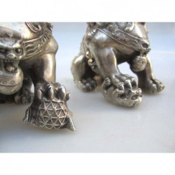 Fu lions  pair in silvered bronze (M)