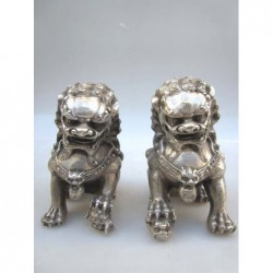 Fu lions  pair in silvered...