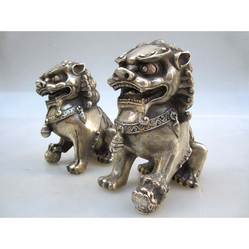 Fu lions pair in silvered bronze (S)