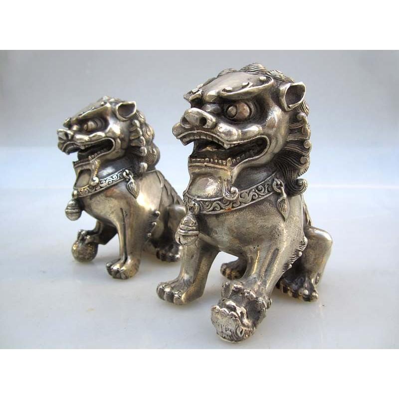 Silberne Bronze Fu Löwen Paar (S)