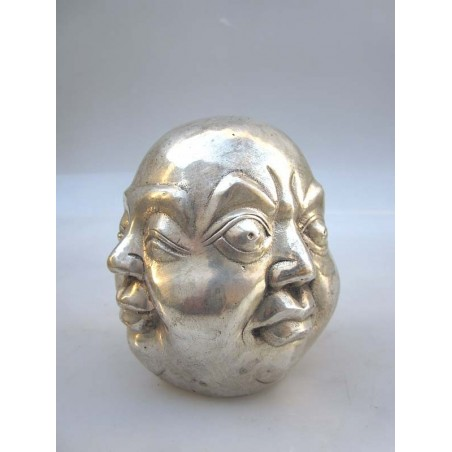 Silvered head of Buddha 4 faces (M)