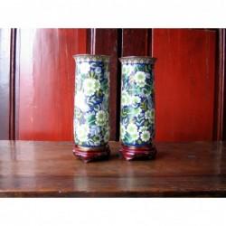 Cloisonné enamel vases...