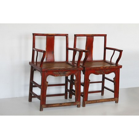 Old red lacquered armchairs (sold by unit)