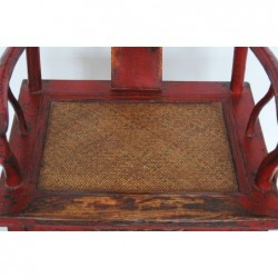 Old red lacquered Ming style armchairs (sold by unit)
