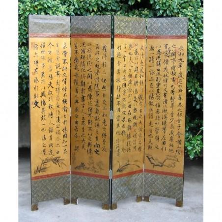 Paravent chinois peint avec calligraphie