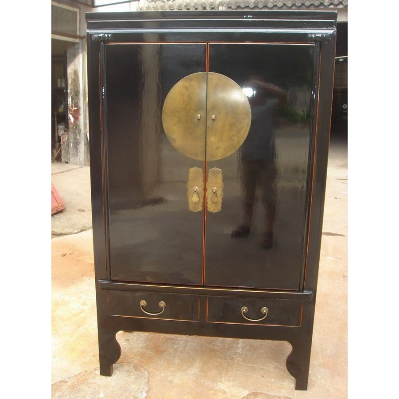 Chinesischer schwarz Hochzeitsschrank- flach