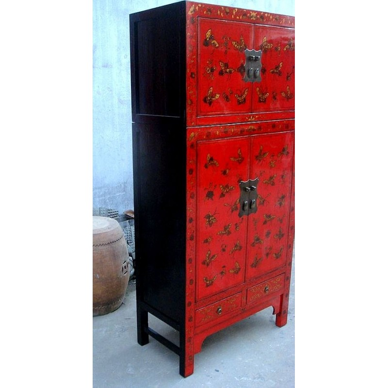 Red Chinese Cabinet With Butterflies 80 Cm China Collection