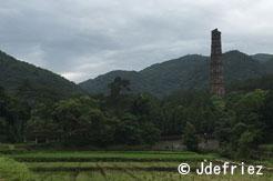 Vue d'une pagode sur le Mont Tiantai