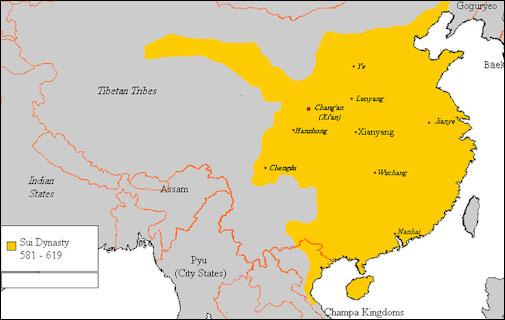 Cartographie de la dynastie Sui