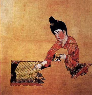 Peinture joueuse d'échec durant la dynastie Tang