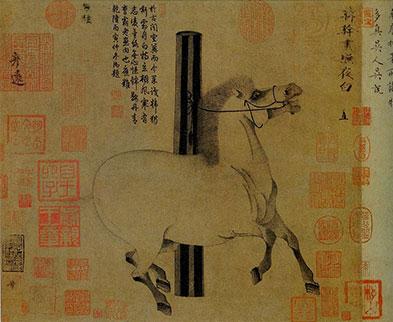 Peinture d'un cheval sous la dynastie Tang