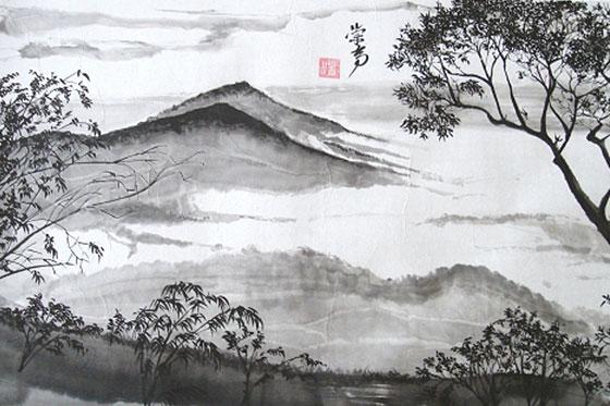 Illustration de montagnes dans la brume